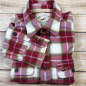 Hollister Red Large Flannel Long Sleeve Shirt